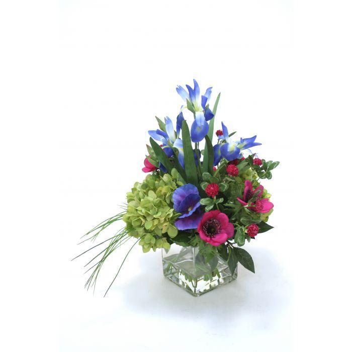 Waterlook® Green Hydrangea, Blue Iris with Fuchsia Anemones in Square Glass Vase