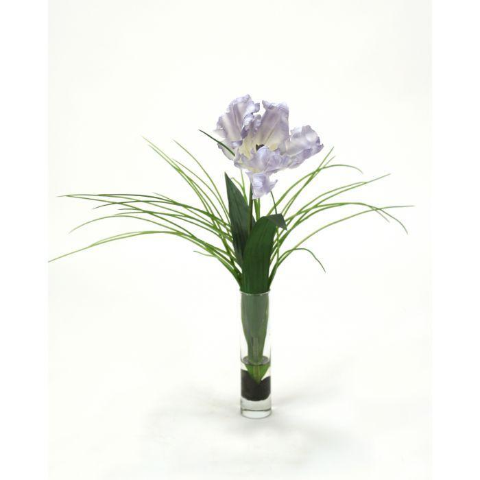 Distinctive Designs Home Waterlook® Light Blue Single Parrot Tulip with Grass in Glass (Set of 2)