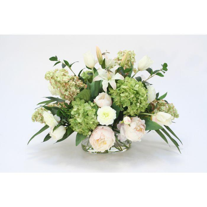 Waterlook® Mixed Cream Pink Peonies and Lilies, White Tulips, Green Hydrangeas in Oval Glass