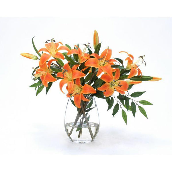 Distinctive Designs Home Waterlook® Orange Tiger Lilies in Angled Rim Glass Vase