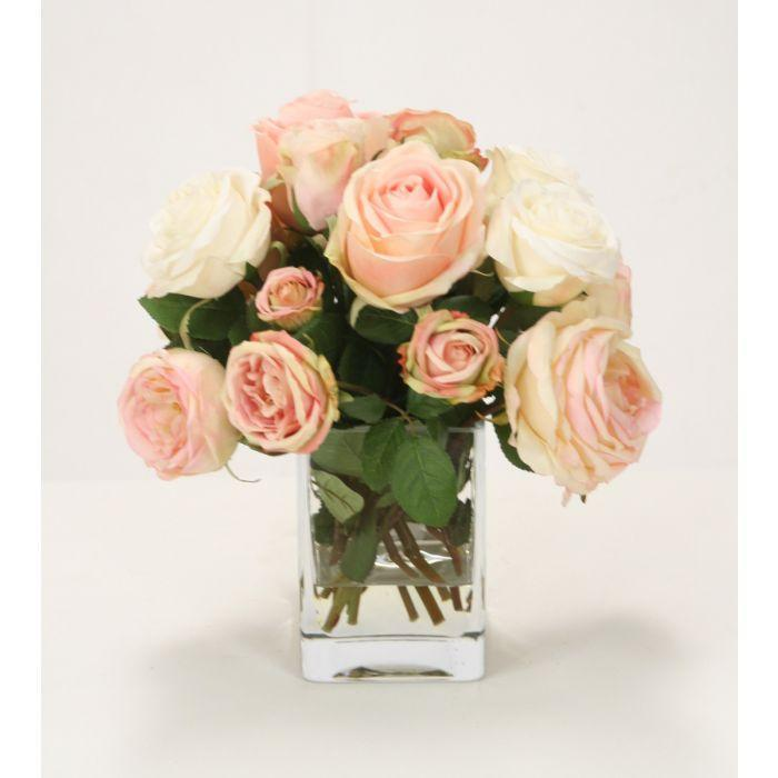 Waterlook® Pink and Cream Roses in Clear Vase