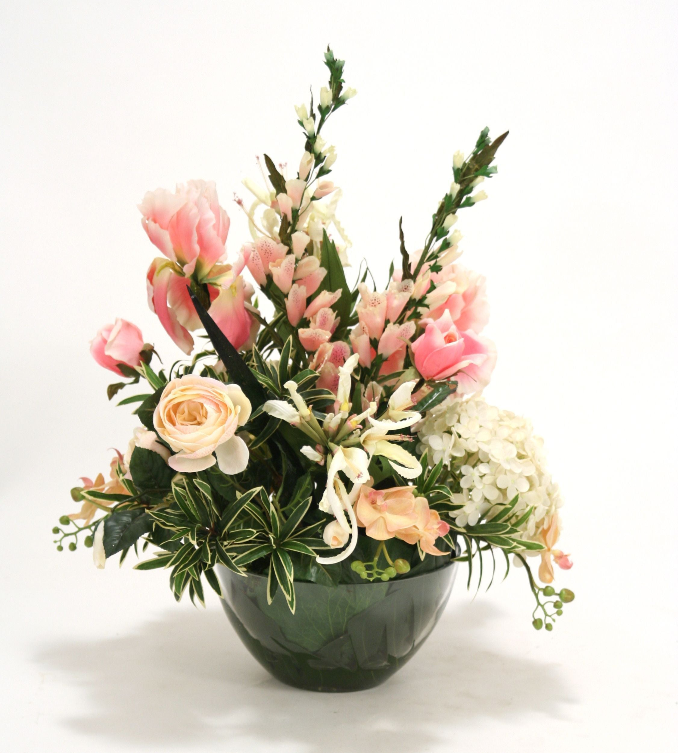 Waterlook® Pink and Ivory Mixed Garden Floral in Round Glass Bowl