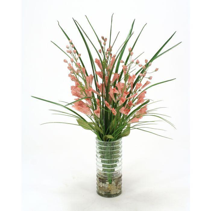 Waterlook® Pink Foxglove and Grass in Glass Vase