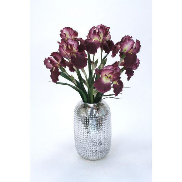 Distinctive Designs Home Waterlook® Purple Iris in Tall Hobnail Glass Container