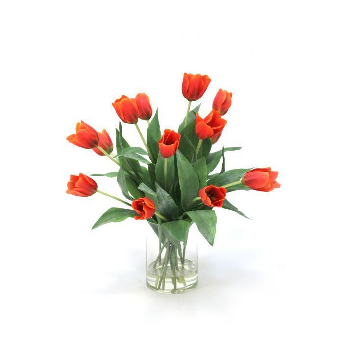 Waterlook® Red Orange Tulips In Glass