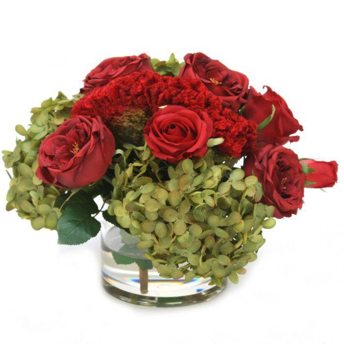 Waterlook® Red Roses, Celosia, Breen Brown Hydrangeas in Glass Cylinder