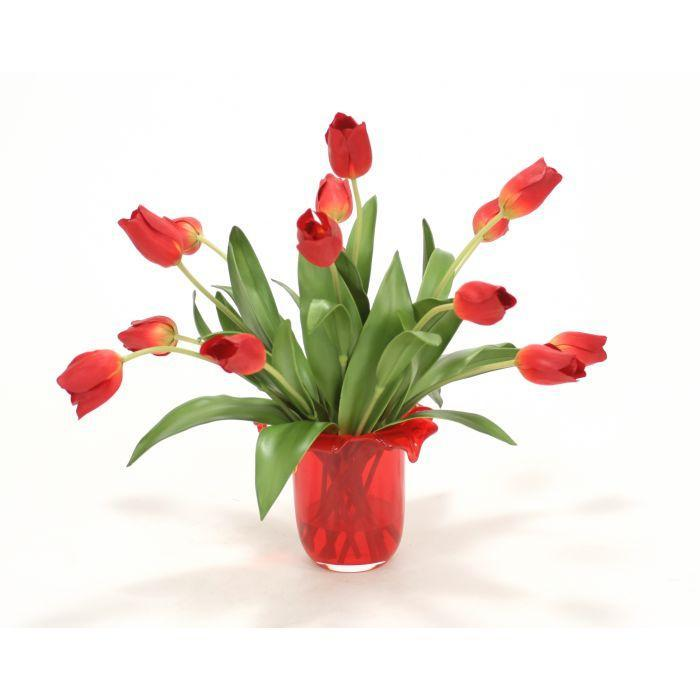 Waterlook® Red Tulips in Red Glass Vase