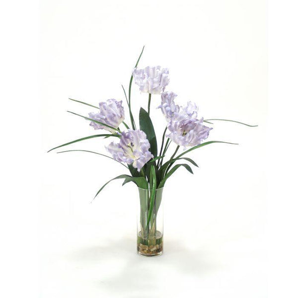 Distinctive Designs Home Waterlook® Soft Blue Parrot Tulip with Grass in Glass Vase