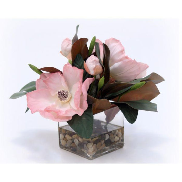 Distinctive Designs Home Waterlook® Soft Pink Magnolia Blooms and Foliage in Square Glass Vase