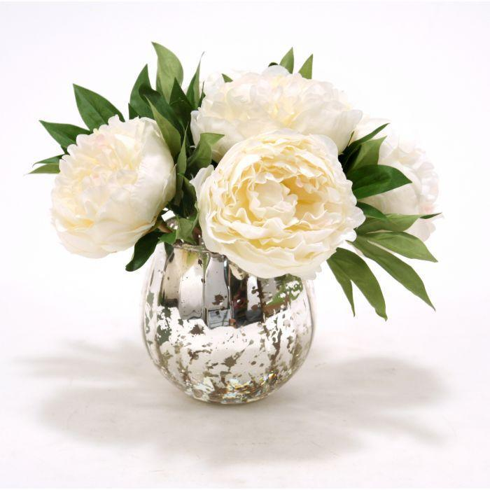 Waterlook® White Peonies in Mercury Glass