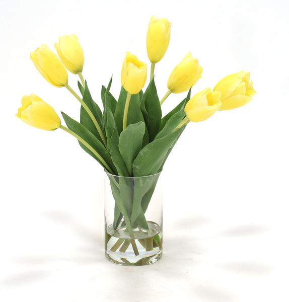 Distinctive Designs Home Waterlook® Yellow Dutch Tulips in Clear Glass Cylinder