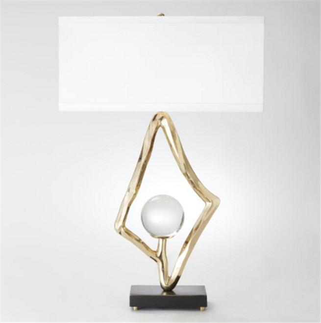 "Global Views Lighting Abstract Lamp w/6"" Crystal Sphere-Brass"