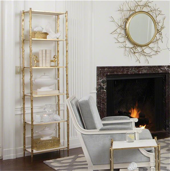 Global Views Furniture Arbor Etagere-Brass & White Marble