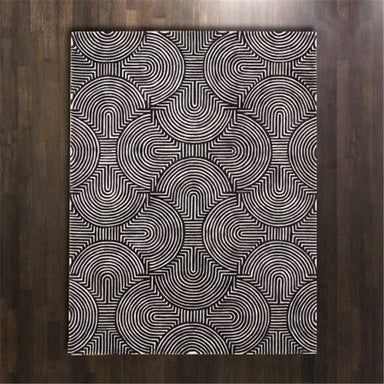 Global Views Home Arches Rug-Black/Ivory-5' x 8'