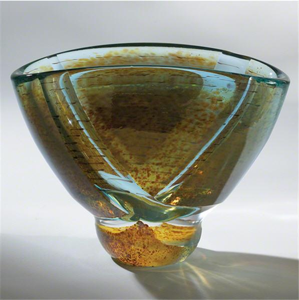 Global Views Art Glass Blue Pond Bowl-Oval