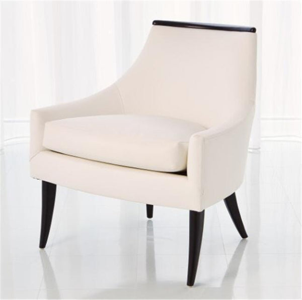 Global Views Furniture Boomerang Chair-White Leather