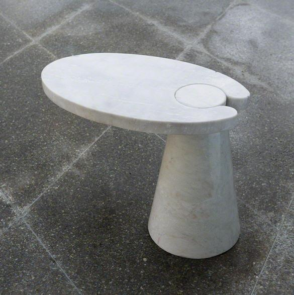 Global Views Furniture Cone Cantilever Table-White Marble