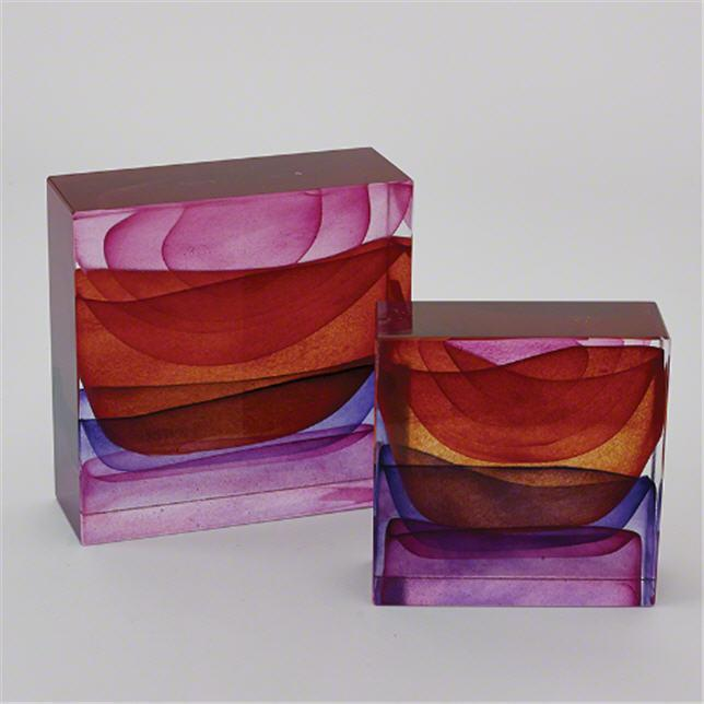 Global Views Art Glass Crown Block-Sunset-Small