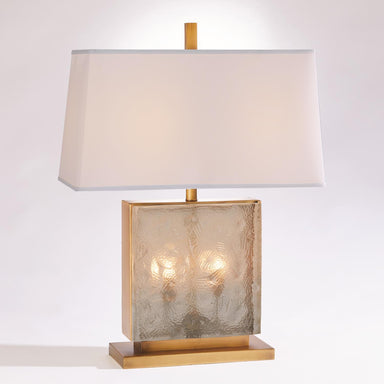 Global Views Home Cube Slab Table Lamp-Antique Brass 7.91074