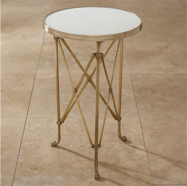 Global Views Furniture Directoire Table-Brass & White Marble