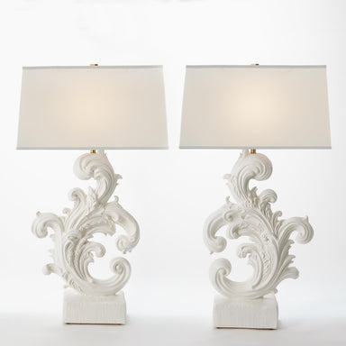 Global Views Home Dorothy Acanthus Lamp-French White Plaster 8.82484