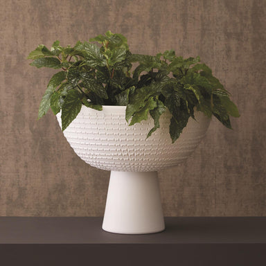 Global Views Home Florentine Footed Bowl-Matte White 7.30129