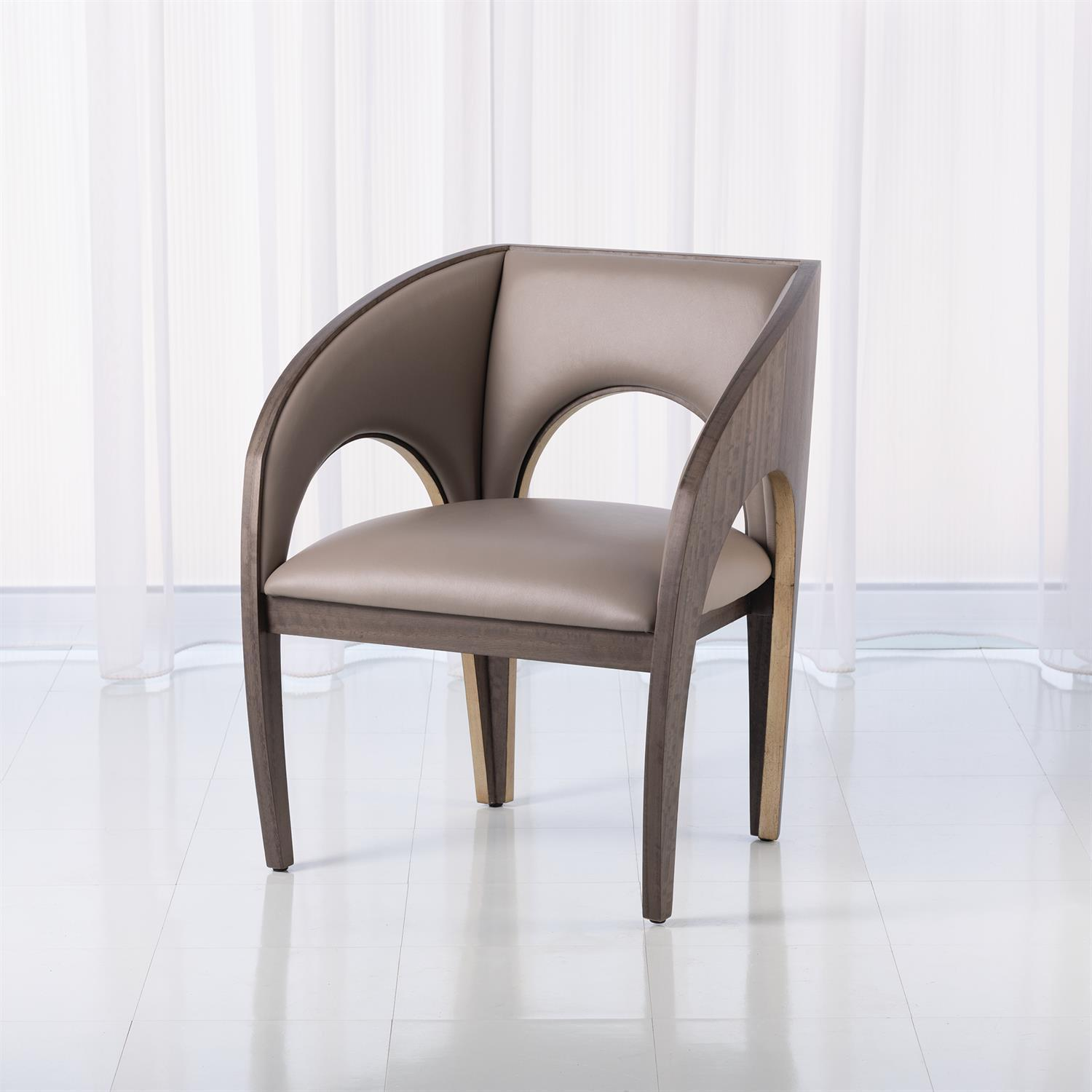Global Views Arches Occasional Chair-Grey Leather