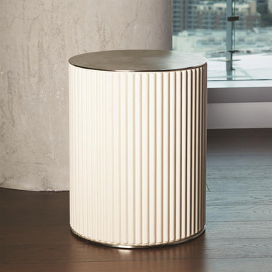 Global Views Home Global Views Camille Side Table-White Bronze