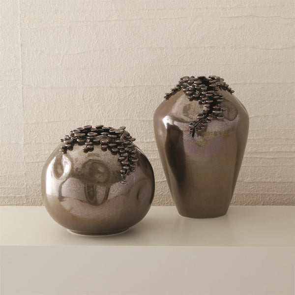 Global Views Home Global Views Cascading Reef Vase-Reactive Bronze-Tall