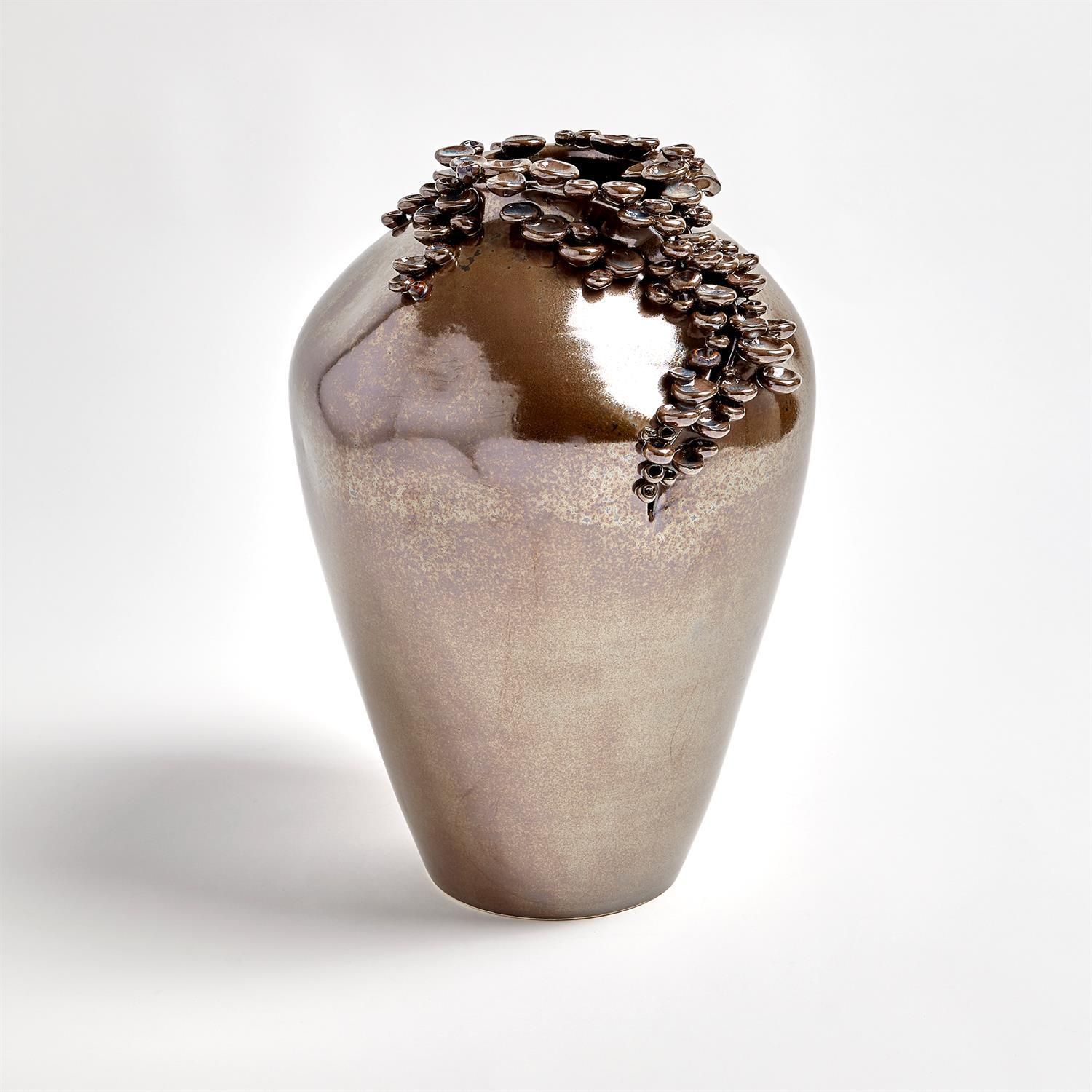 Global Views Cascading Reef Vase-Reactive Bronze-Tall