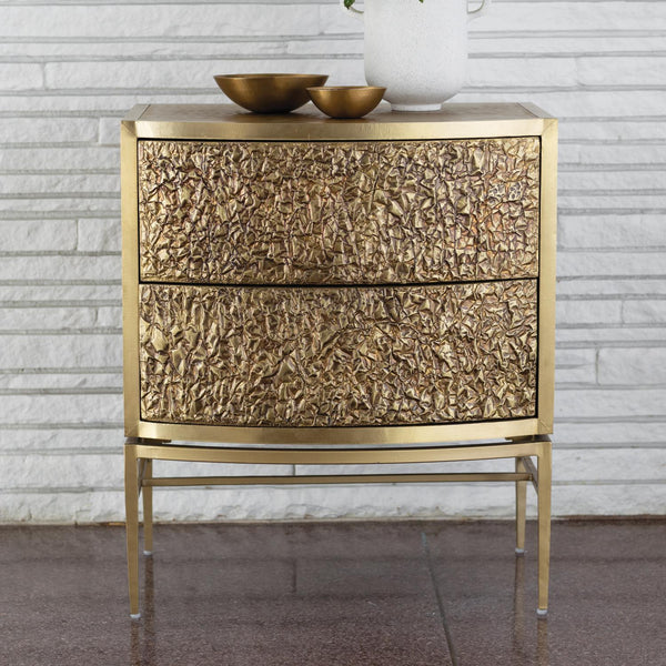 Global Views Home Global Views Crinkle Bedside Chest-Brass/Bronze