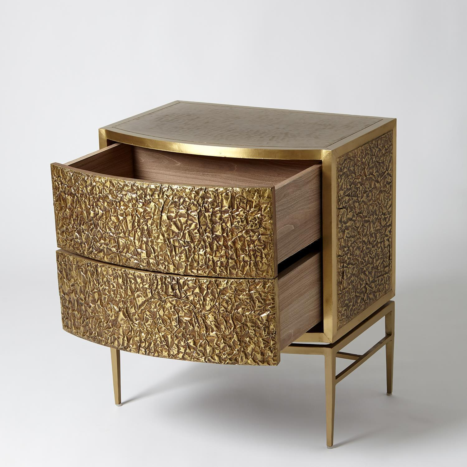 Global Views Crinkle Bedside Chest-Brass/Bronze