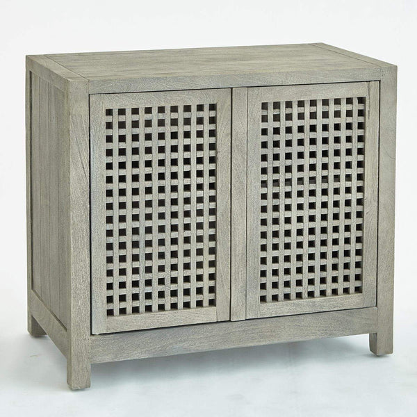 Global Views Home Global Views Driftwood Lattice Two-Door Cabinet-Grey