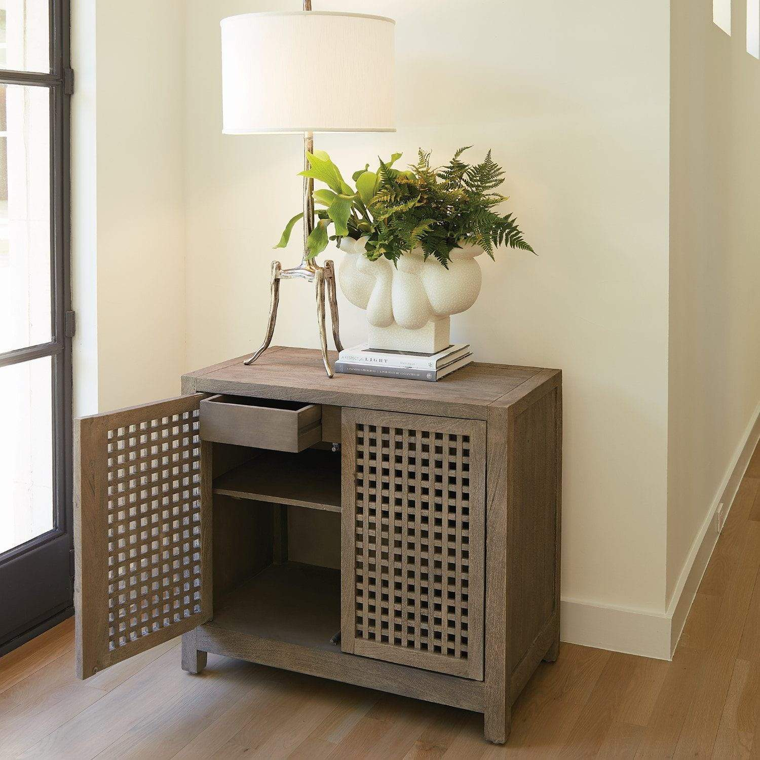 Global Views Driftwood Lattice Two-Door Cabinet-Grey