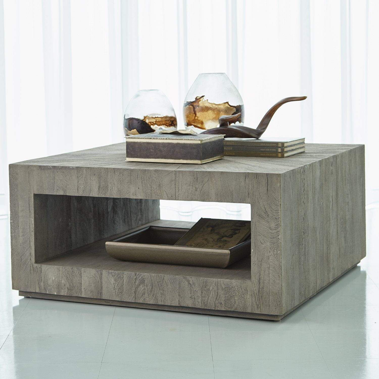 Global Views Driftwood Square Coffee Table-Grey