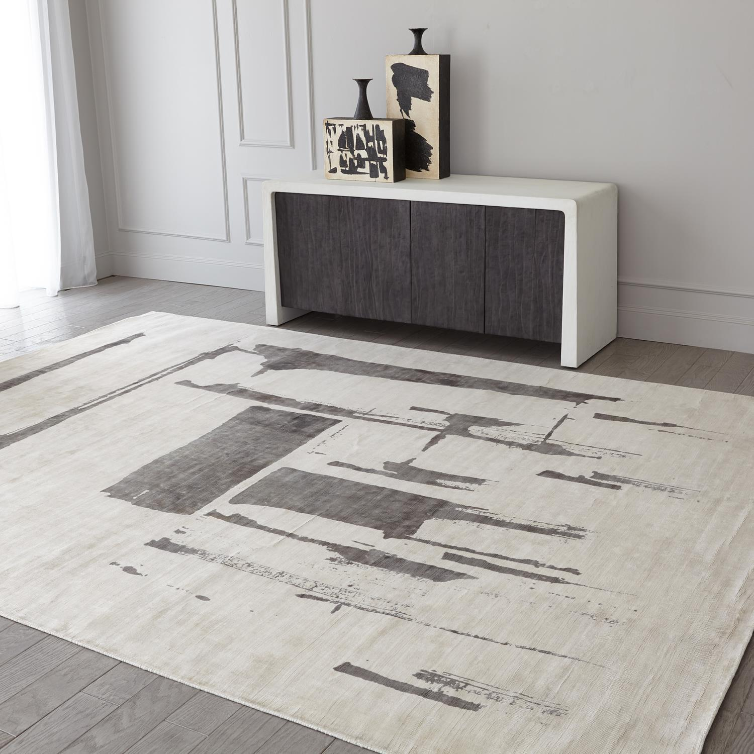 Global Views Edifice Rug-Cream/Charcoal-6' x 9'