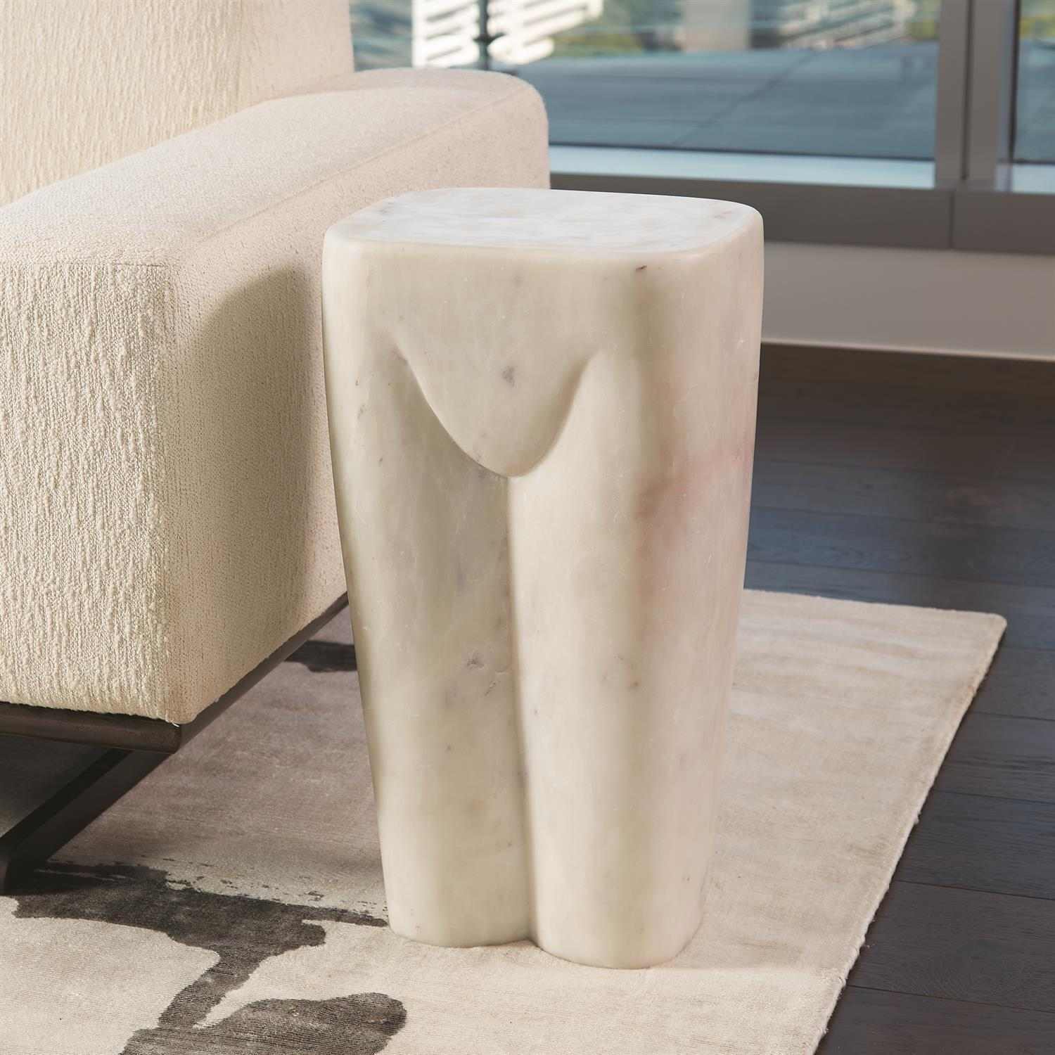 Global Views Femme Stool-White Marble