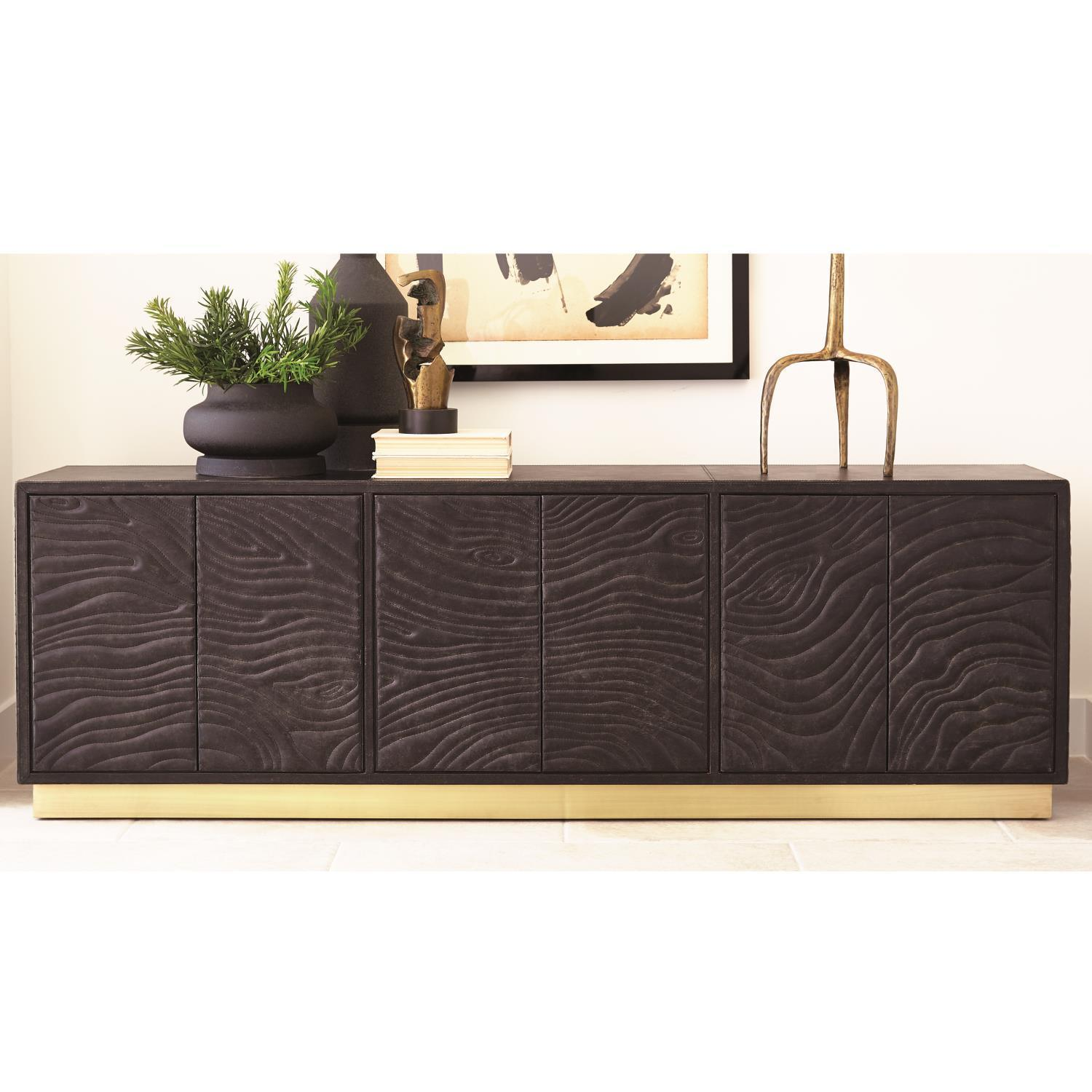 Global Views Forest Long Cabinet-Charcoal Leather