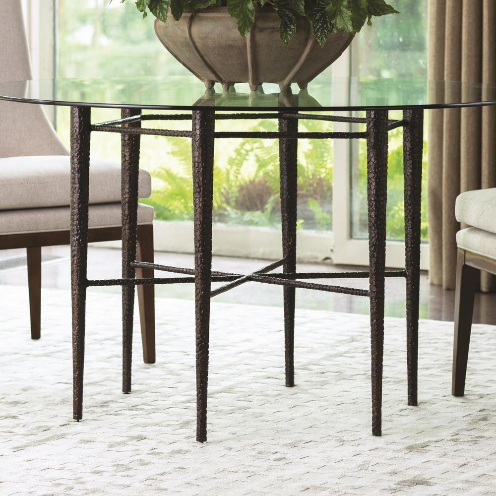 "Global Views Hammered Dining Table w/48"" Glass Top-Bronze"