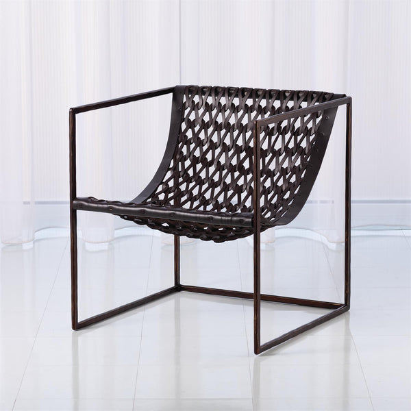 Global Views Home Global Views Knit & Pearl Chair-Bronze-Dark Brown Leather