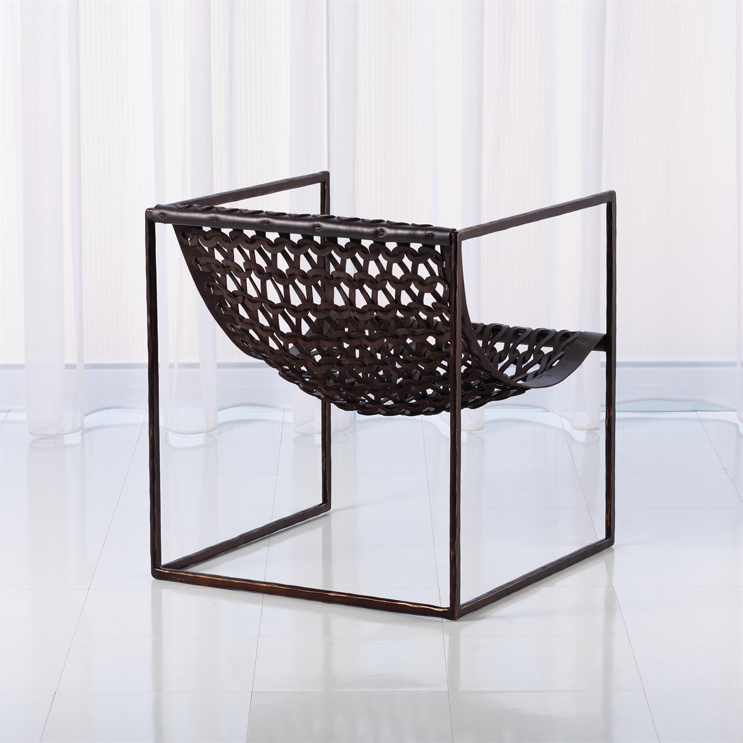Global Views Knit & Pearl Chair-Bronze-Dark Brown Leather