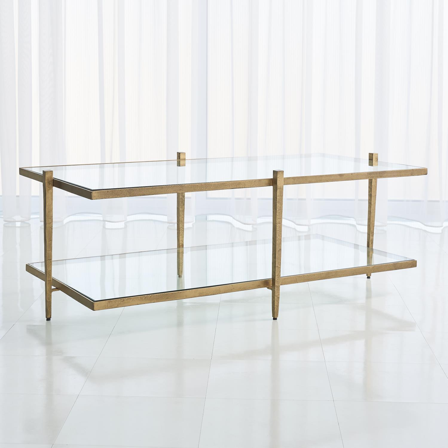 Global Views Laforge Cocktail Table-Antique Gold