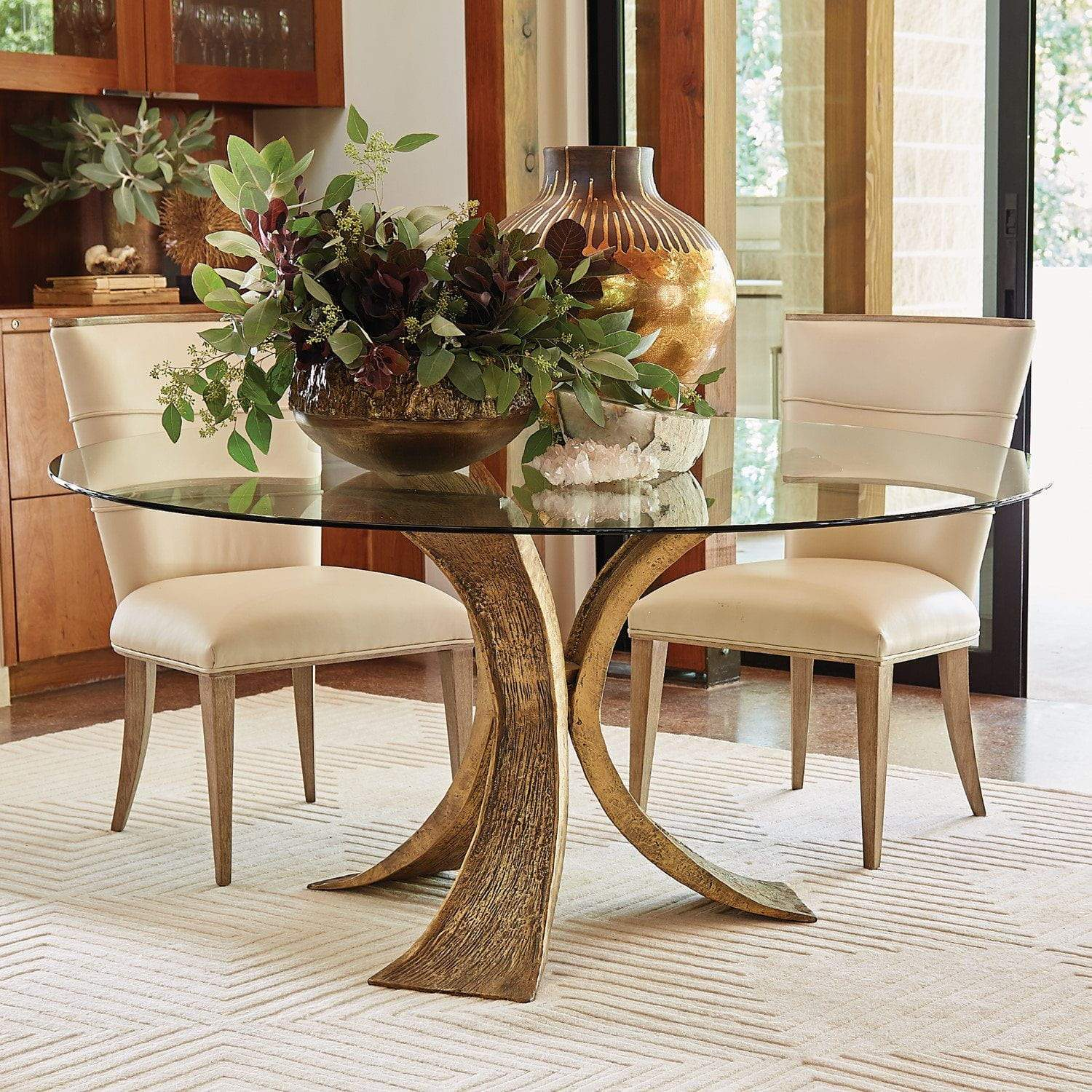 Global Views Lotus Dining Table Base-Antique Gold/Bronze