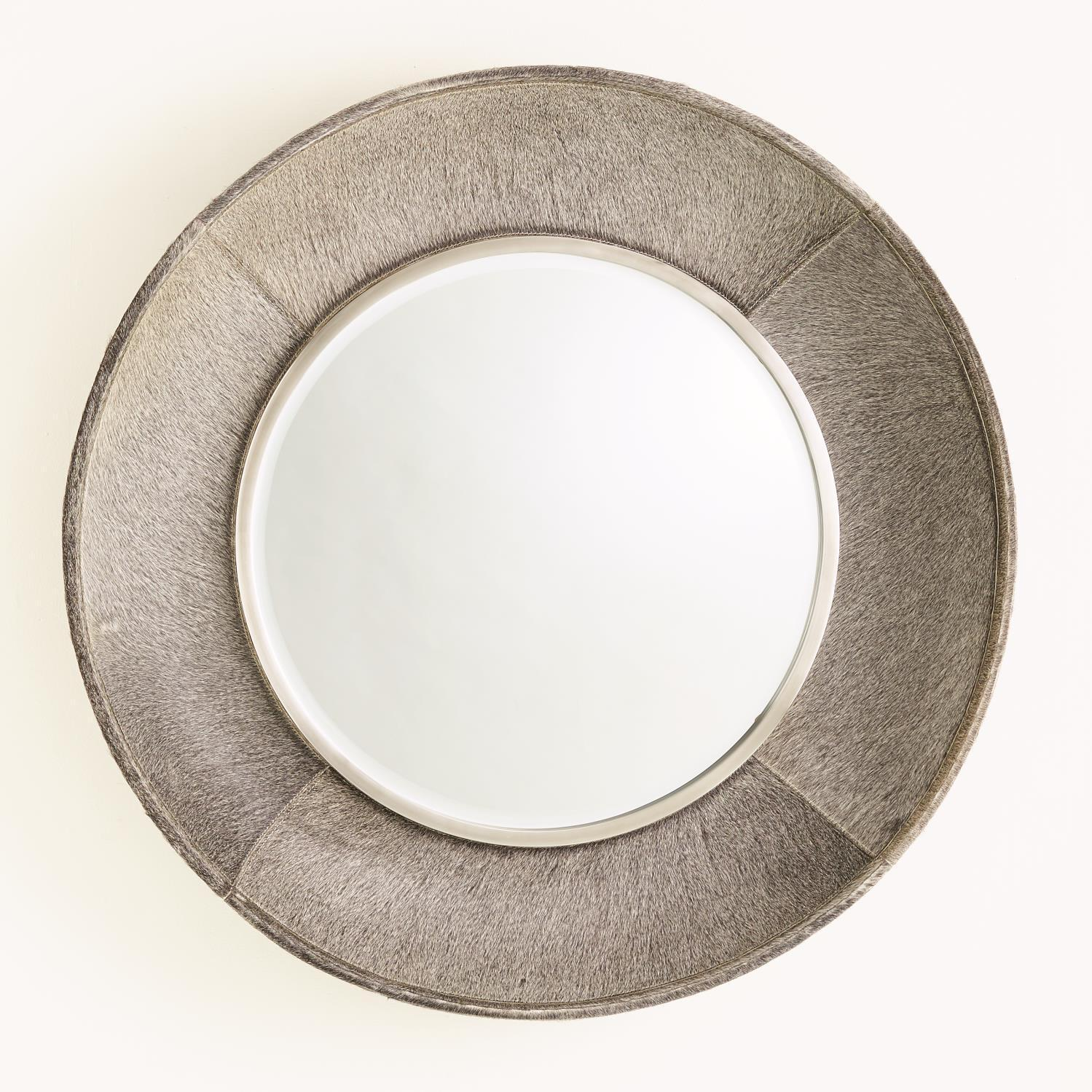 Global Views Metro Round Mirror-Grey Hair-on-Hide