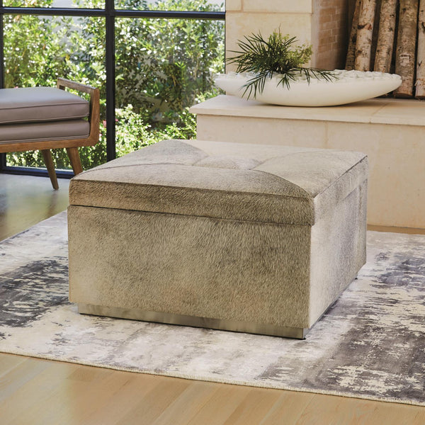 Global Views Home Global Views Metro Square Storage Ottoman-Grey Hair-on-Hide
