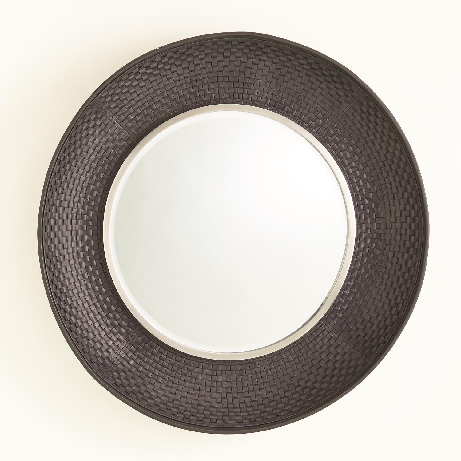 Global Views Milan Round Mirror-Charcoal Leather