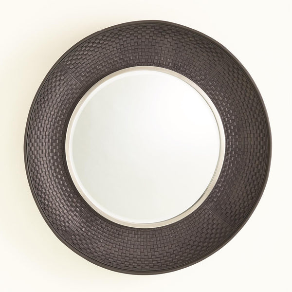Global Views Home Global Views Milan Round Mirror-Charcoal Leather