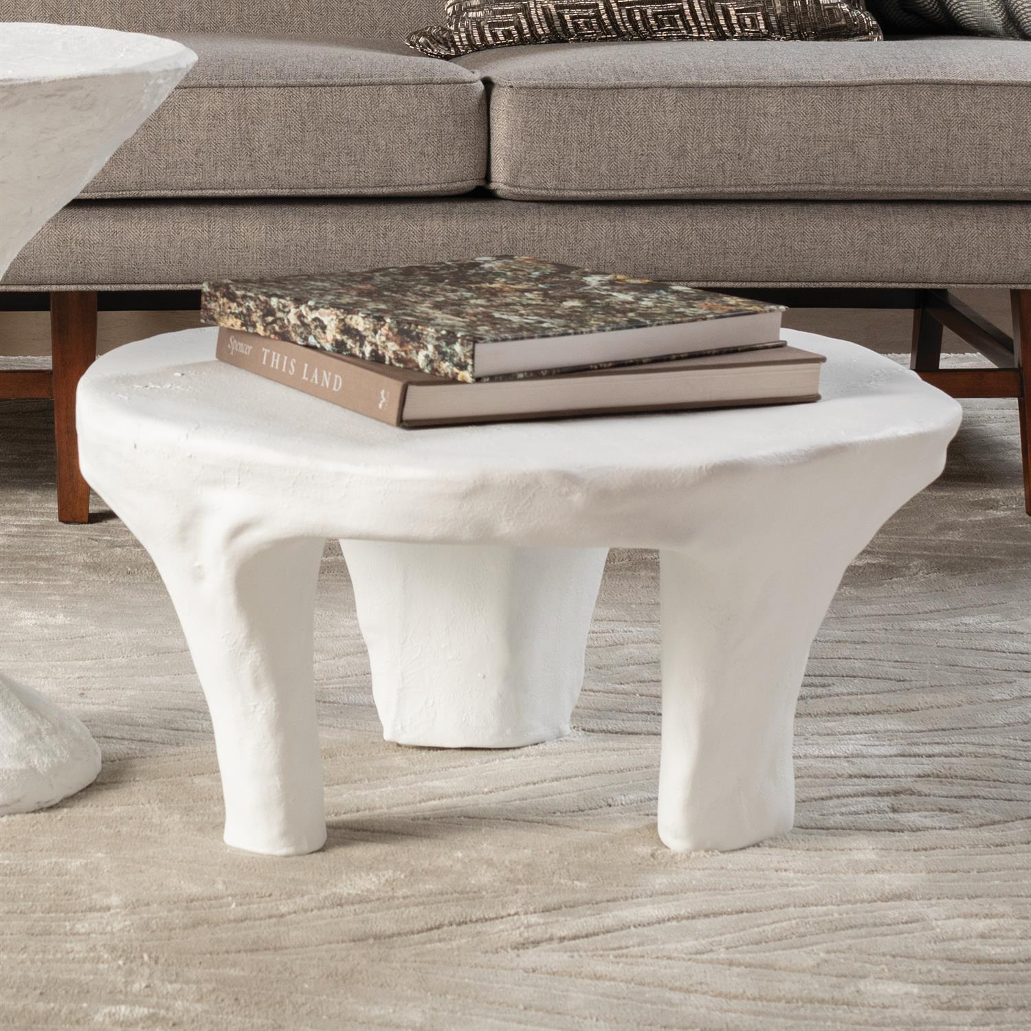Global Views Monolith Coffee Table-Soft White