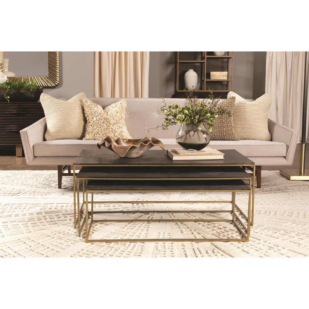 Global Views S/3 Sandcasted Nesting Cocktail Tables-Gold frame w/Black Top