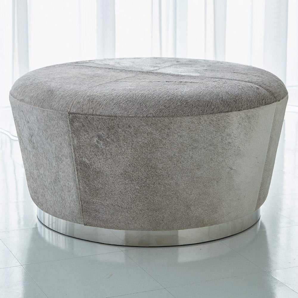Global Views Tapered Ottoman-Grey Hair-on-Hide